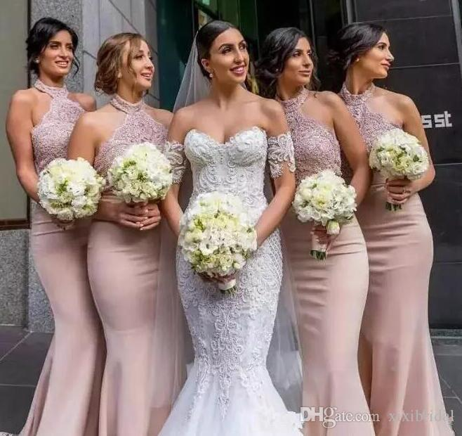2018 Blush Pink Lace Top Mermaid Bridesmaid Dresses Halter Neckline Sleeveless Prom Party Gown Wedding Guest Dress