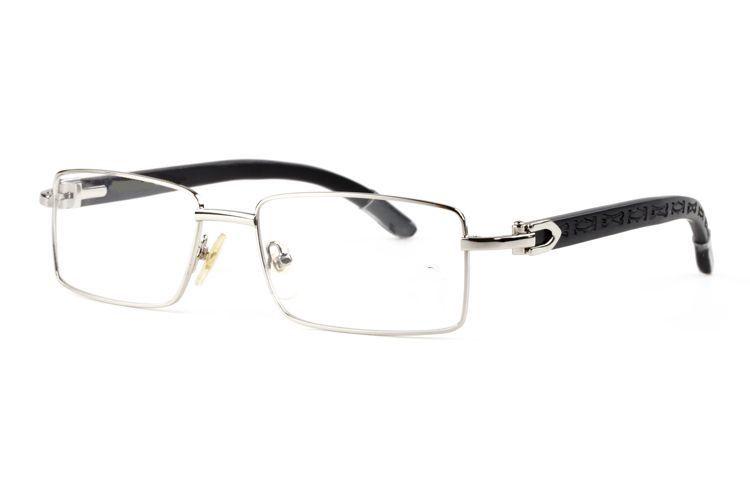 Square Glasses Buffalo Horn plastic glass wooden leg Sunglasses Brand Designer Best Quality gold wooden bamboo half frame glasses with box