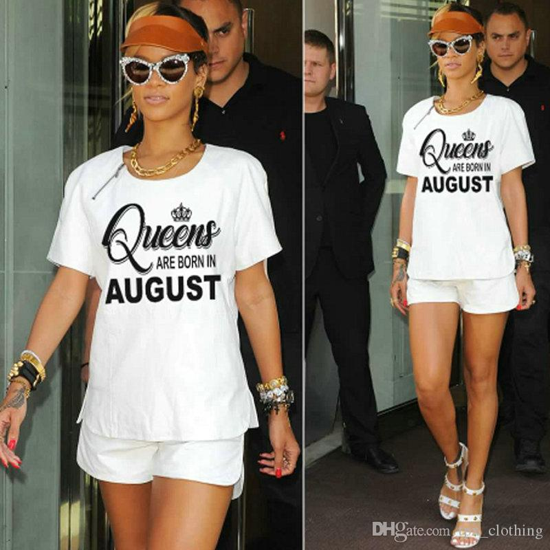 Queen Born In August T Shirt Birthday Month Girl Short Sleeve Gown Casual Tees Woman Clothing Quality Cotton Tshirt Funky Shirts Online Mens From