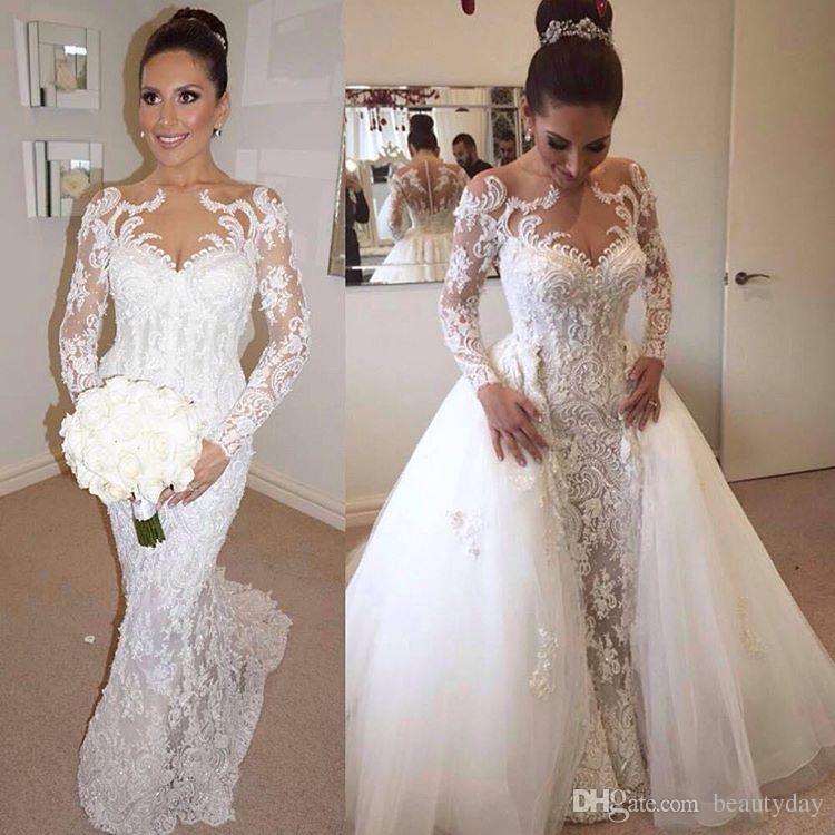 Vestidos De Casamento Com Saia Destacável 2019 Luxo Detalhe Frisado Pérolas Sereia de Manga Longa Dubai Árabe Vestidos de Casamento Overskirt Nupcial