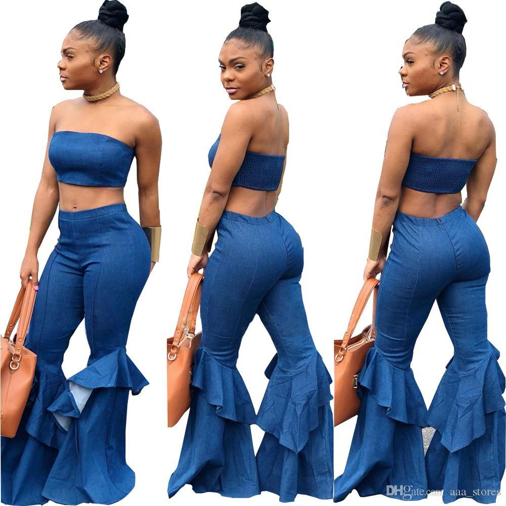 939a774b8f 2019 Denim Two Piece Set Summer Strapless Crop Top And Bell Bottom Jeans  Flare Pant Outfits Sexy Off The Shoulder Set From Aaa_stores, $22.86    DHgate.Com