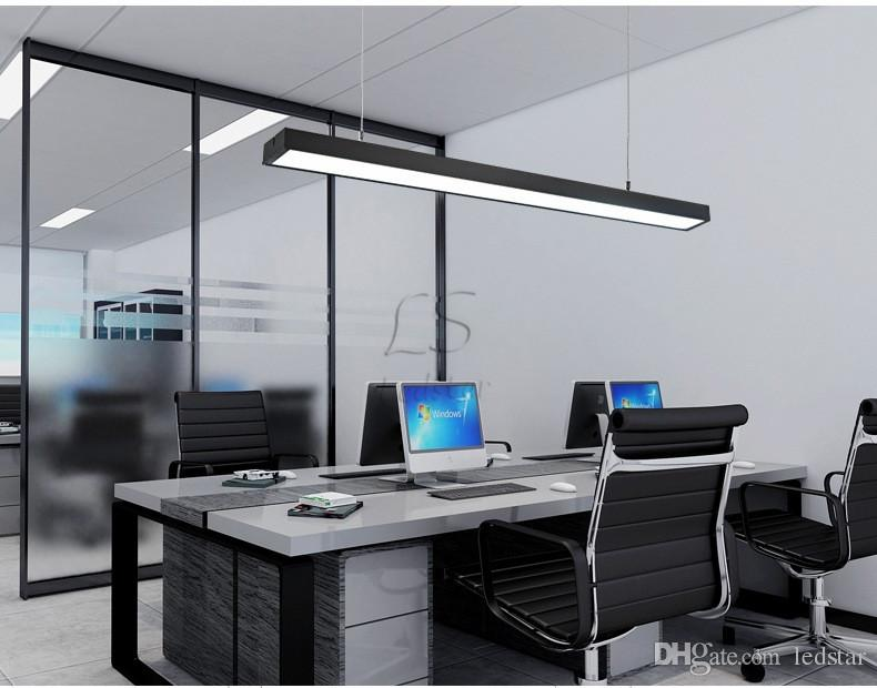 18W 36W 4ft 120cm offfice luce a sospensione a led rettangolare in alluminio appeso luci moderno bar illuminazione a sospensione argento nero apparecchio di illuminazione