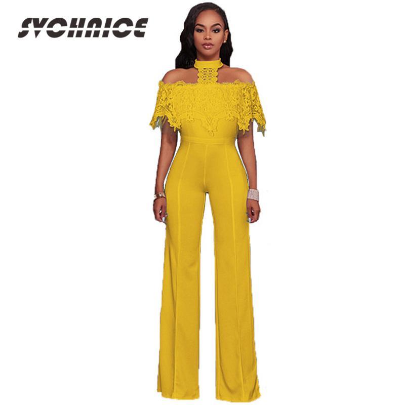 931a79b394c1 2019 Black White Long Jumpsuit Overalls 2018 Sexy Jumpsuit Lace Off  Shoulder Ladies Wide Leg Plus Size Romper Women Party From Sideceam