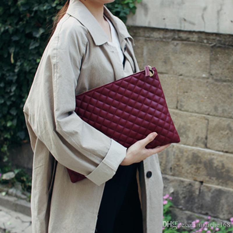 Nueva bolsa de sobres de cuero de moda salvaje Ling rejilla bolsa de embrague bolsas de gran capacidad