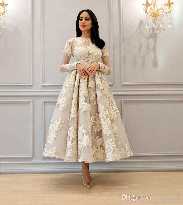 dfa12b48e Sheer Neck Appliques Evening Dresses With Long Sleeves Tea Length Formal  Bridal Guest Gowns Zipper Up Back Arabic Short Prom Dresses Party Pink  Evening ...