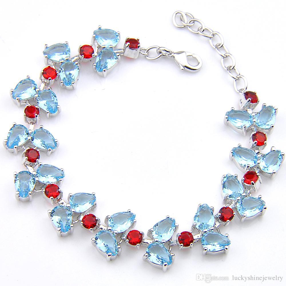 Luckyshine Sparking Trendy Fire Drop Sky Blue Topaz Garnet Cubic Zirconia Silver Olive branch Chain Bracelets Bangles Holiday Wedding
