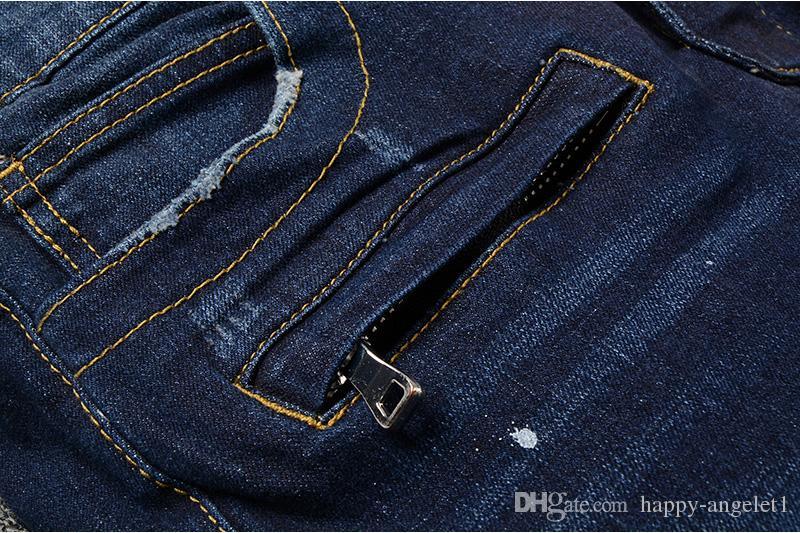88100#メンズ装飾リブストレッチモトパンツ油を塗ったビーカージーンズスリムブルーズボンサイズ29-42