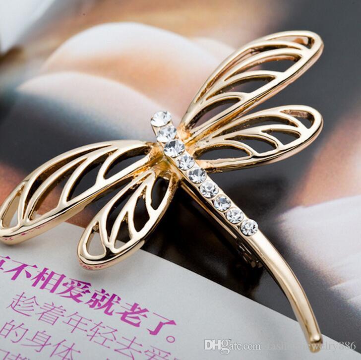 رائعة اليعسوب بروش سبيكة كريستال حجر الراين بروش دبوس حفل زفاف خمر وشاح للنساء الرجال