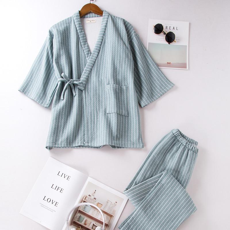 7b53592346 Compre Autumnwinter Blusas Y Blusas Sexy Para Mujer Pijamas De Cuerpo Entero  Kimono De Cuerpo Completo Pijama De Rayas De Algodón De Capa Intermedia  Pijama ...