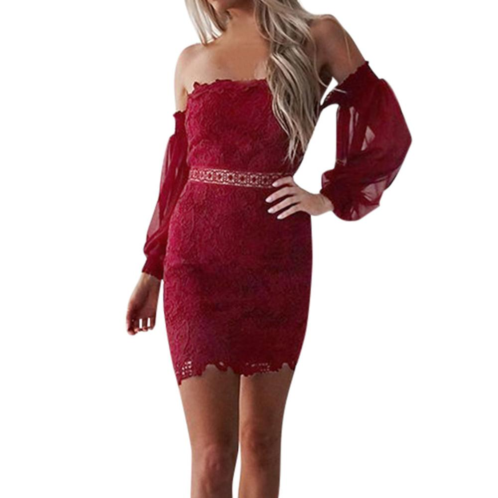 1e44d90f6d4b0 Sexy Bodycon Dress Women Long Sleeve Red Lace Dresses Off The Shoulder  Backless Short Party Dress #EP