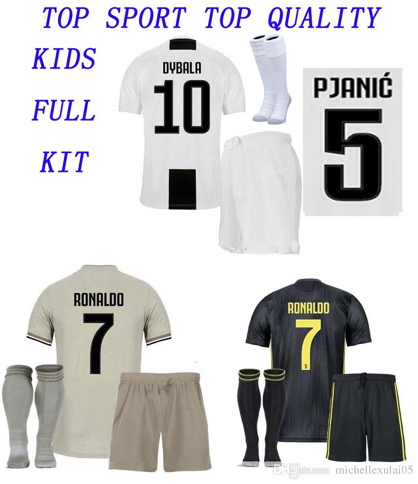 detailed look 66265 9f729 18 19 Kid JuventuS Soccer Jersey Shorts Sock 2018/19 Thai Quality Children  Soccer Kits Ronaldo DYBALA Football Set Boys Sports Training Suit