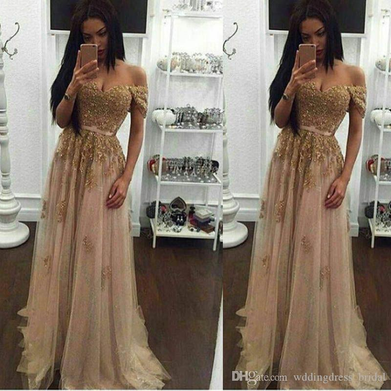 2018 Champagne Lace Beaded Arabic Evening Dresses Sweetheart A Line Tulle Prom Dresses Vintage Cheap Formal Party Gowns Custom Made
