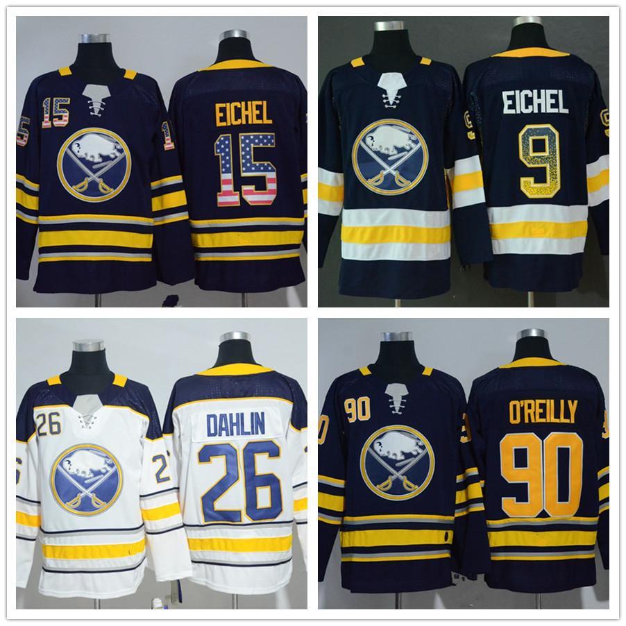 2019 Mens Buffalo Sabres 15 Jack Eichel 26 Rasmus Dahlin 90 Ryan O Reilly 9  Jack Eichel Navy White American Flag Letter Hockey Jerseys From Fanatics 6b632b90c