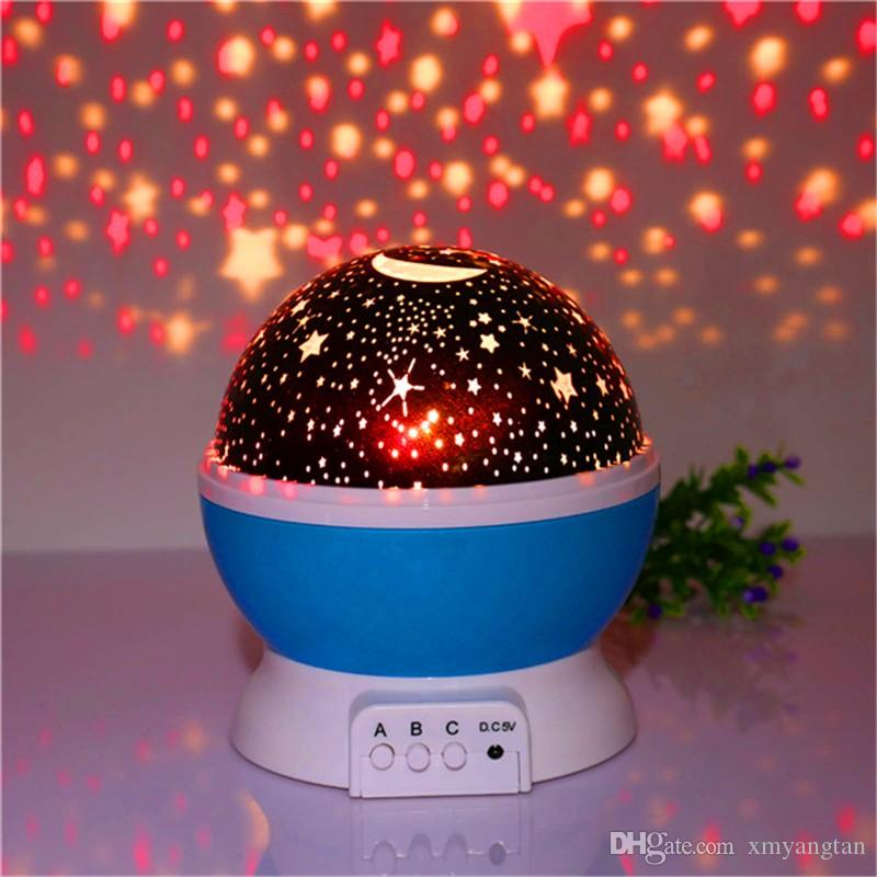 Novelty Night Light Projector Lamp Rotary Flashing Starry Star Moon Sky Star Projector Kids Children Baby Abajur Infantil