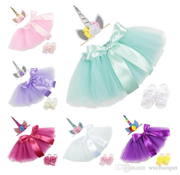 unicorn baby Dress Suits 3pcs/set birthday Infant Girls Outfits unicorn floral Headbands+ Tutu Skirts + Flower shoes Newborn Clothing BY0273
