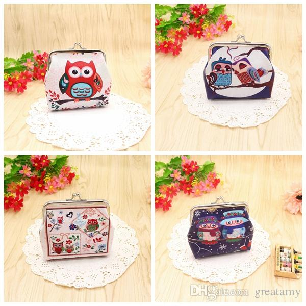 Fashion vintage women lady cute owl pattern small wallet hasp purse clutch bag high quality free shipping