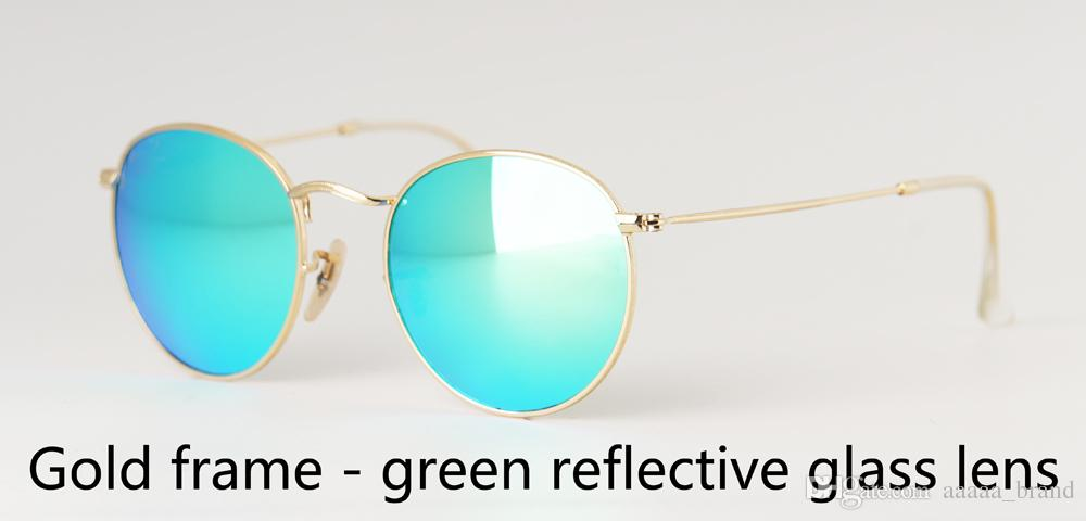 High quality Mens Womens Sunglasses Brand Designer metal frame Glass Lens Round sun glasses uv400 Goggle With free Case and label