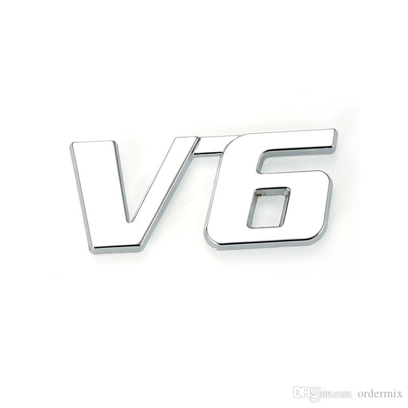 Metal Chrome 3D V6 Displacement Emblem Badge truck auto motor sticker decal