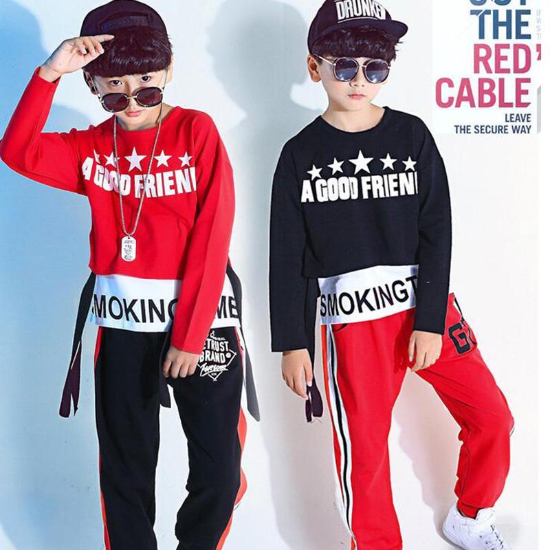 7b20a750d Compre Niños Rojos Camisetas Largas Tops Shorts Ropa Hip Hop Niñas Niños  Jazz Traje De Baile Salón De Baile Ropa De Calle Trajes De Calle A  28.57  Del Bida ...