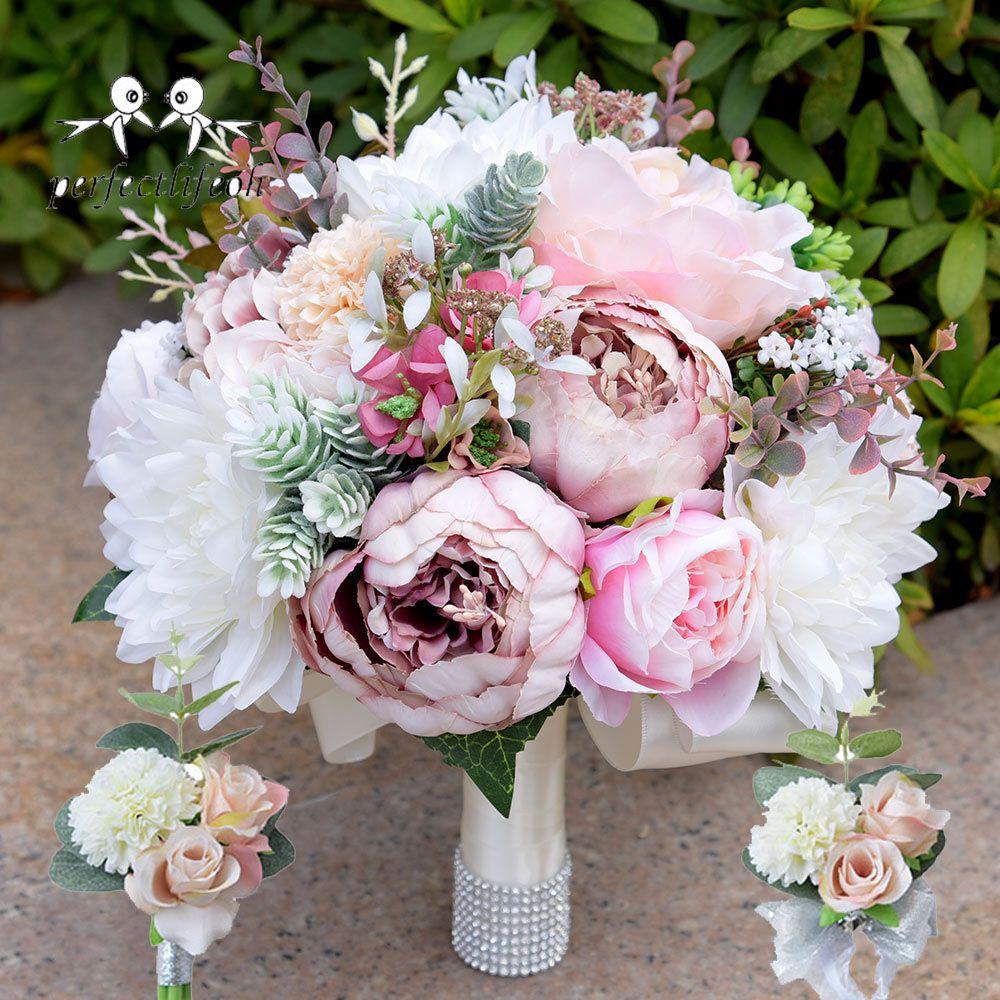 Grosshandel Bouquet De Novio Hochzeit Pfingstrosen Brautstrausse