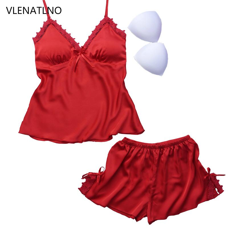 10d88e4b0c8a Ladies Sexy Silk Satin Pajama Set Sleeveless Pyjamas Femme V-neck ...