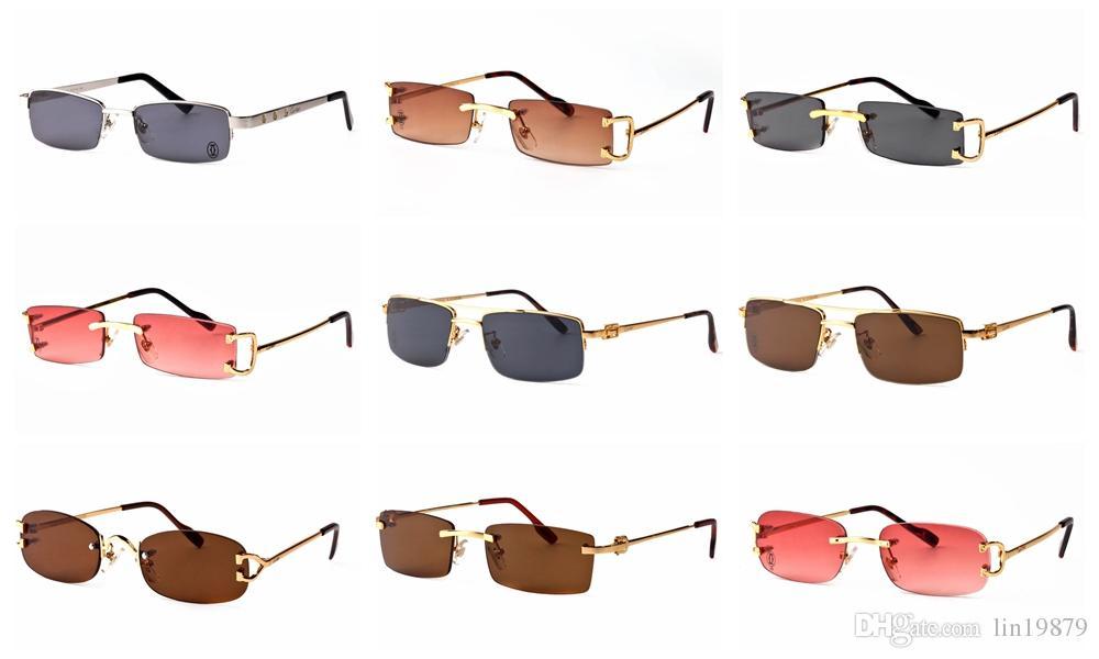 abeb9c5c36 Compre Gafas De Sol Polarizadas Para Hombre Gafas Sin Montura De Estilo  Unisex Piernas De Montura De Metal Dorado Lente De Color Rojo Lentes De  Alta Calidad ...