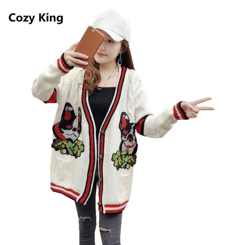 3066f5c1391 2019 Cozy King Plus Size Tops 2018 Autumn New V Neck Loose Knit Cardigan  Embroidery Sweater Womens Puppy Pattern Single Breasted Coat From Yujian18
