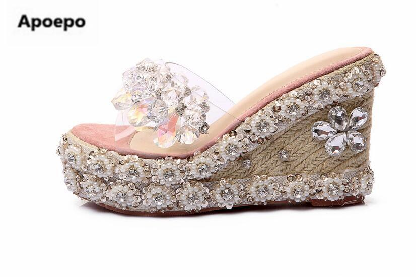 55ce1ec72f8ba Wholesale Women Slippers Bling Bling Crystal Embellished Wedge Sandal  Luxury Glitter Platform Slipper Cutouts Summer Shoes Women White Wedges  Cheap Shoes ...