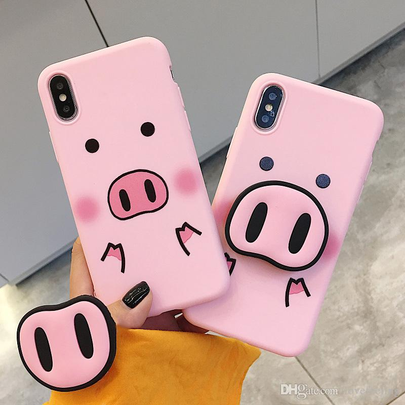 the latest 37586 4afaa Funny Cartoon Pig Phone Case For iphone X XS Max XR Case For iphone 7 6s 8  8 plus Cover Cute Nose Soft Back Cases Animal Capa