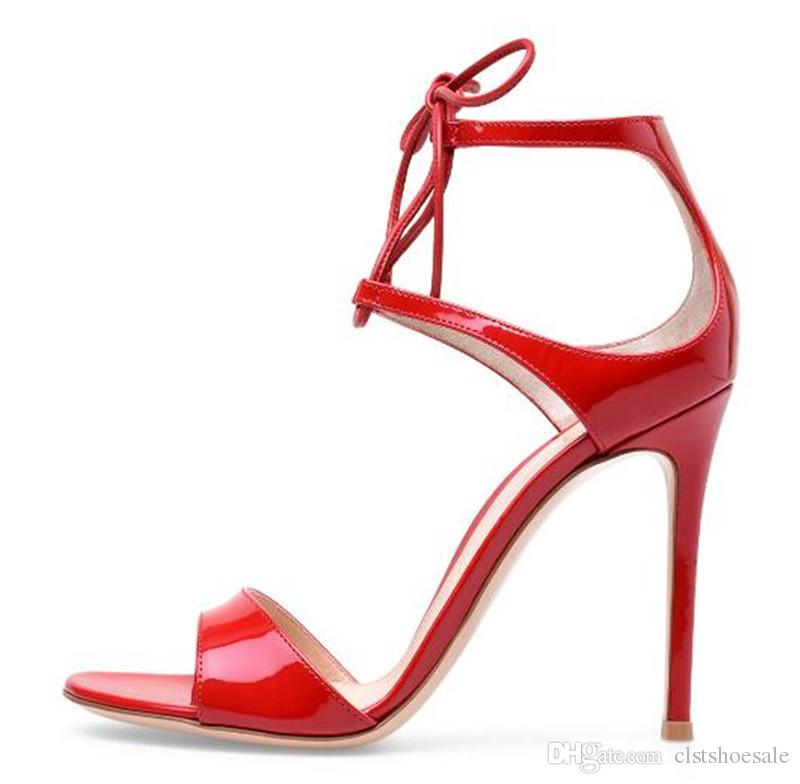 New Fashion Women Open Toe Red Patent Leather Stiletto Heel Sandals Ankle  Straps Thin High Heel Sandals Formal Dress Shoes Bamboo Shoes High Heels  Shoes ... 88b11e4f2aa6