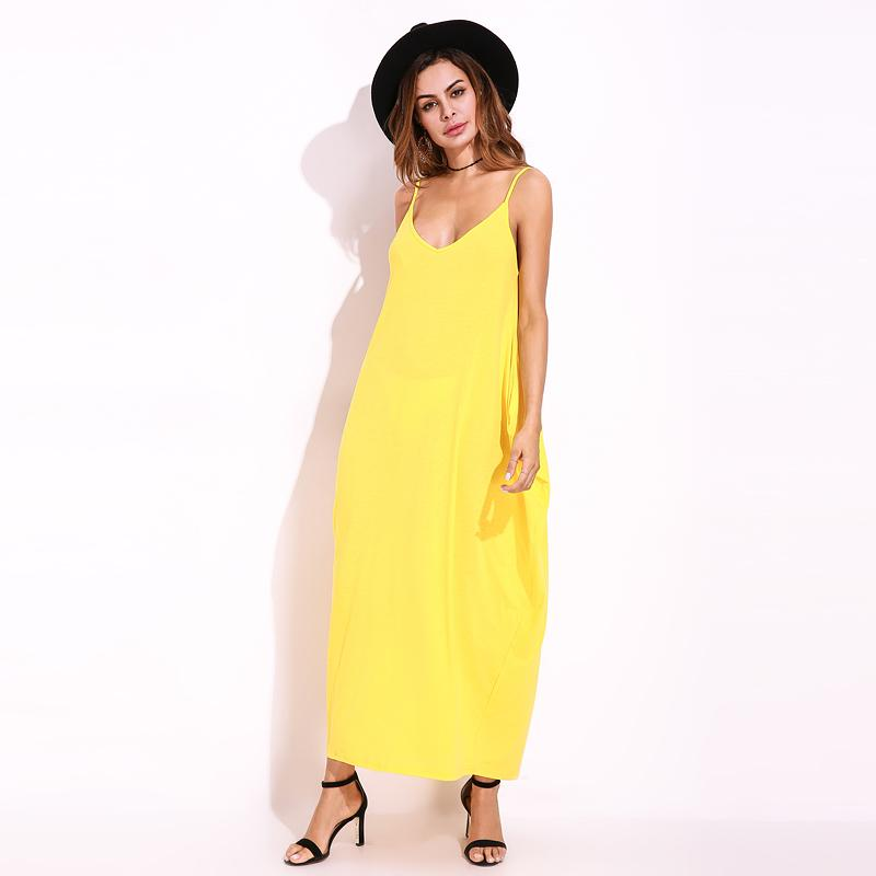 2cf70626655d 2019 Yellow Sundress Beach Vestidos 2018 Summer Women Dress Boho Strapless  V Neck Sleeveless Baggy Long Maxi Dresses Plus Size 5XL From Charle, ...