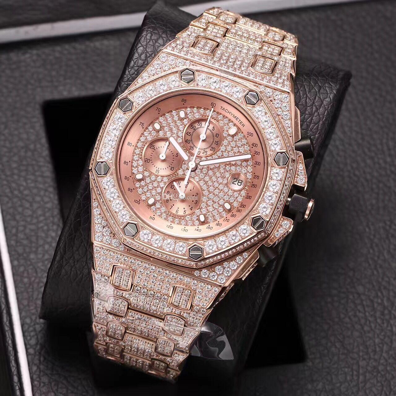 2018 New Full Diamond Watch Silver Black Face Gold Men S Watch