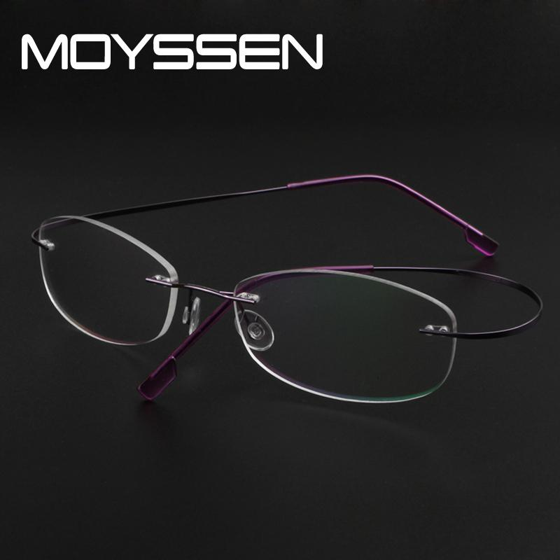 463f7aa9211c MOYSSEN Light Flexible Memory Alloy Rimless Glasses Frame Myopia Hyperopia  Optical Prescription Eyeglasses For Women Female Lady Prescription  Eyeglasses for ...