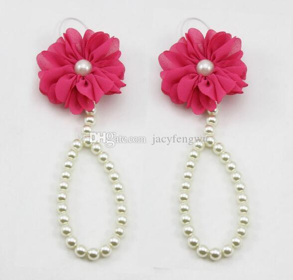 Newbornbaby shoes Flower baby anklets Foot chain children 's foot decoration flowers Decoration Anklet art Pearl handmade shoes FS012
