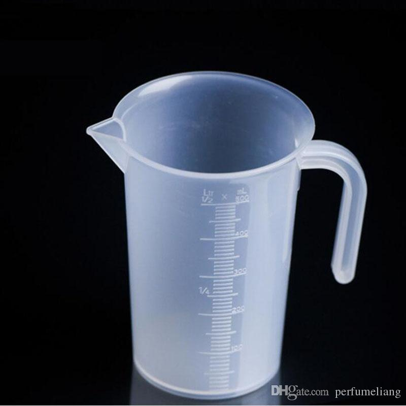 250 ml / 500 ml / 1000 ml Kolu Ile Lab Beher Plastik Mezun Ölçme Fincan Ev Mutfak Pişirme aracı ZA6553