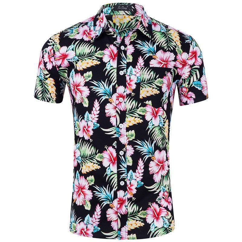ce3b8c4568 Compre Estampado De Flores Camisa Hawaiana De Los Hombres 2018 A Estrenar  100% Algodón Slim Fit Camisa De Manga Corta De Los Hombres Camisas De Playa  ...