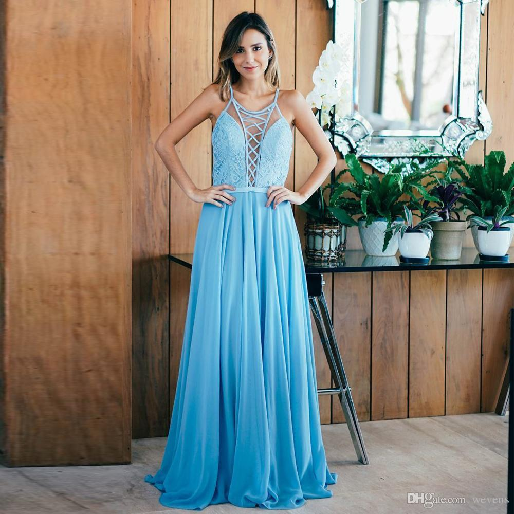 70d36450f28 2019 Sexy Blue Chiffon Prom Dresses Jewel Criss Strap Hollow Back Cocktail  Party Dress Draped Floor Length Prom Wears Cheap Camo Prom Dresses Cheap  Prom ...