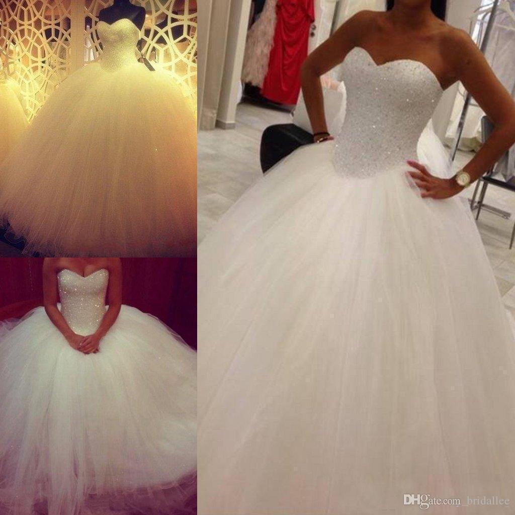 2018 Plus Size vestido De Baile Vestidos de Casamento Com Pérolas Querida Até O Chão Tulle Espartilho Vestido De noiva Vestido de noiva Com Rendas para Cima