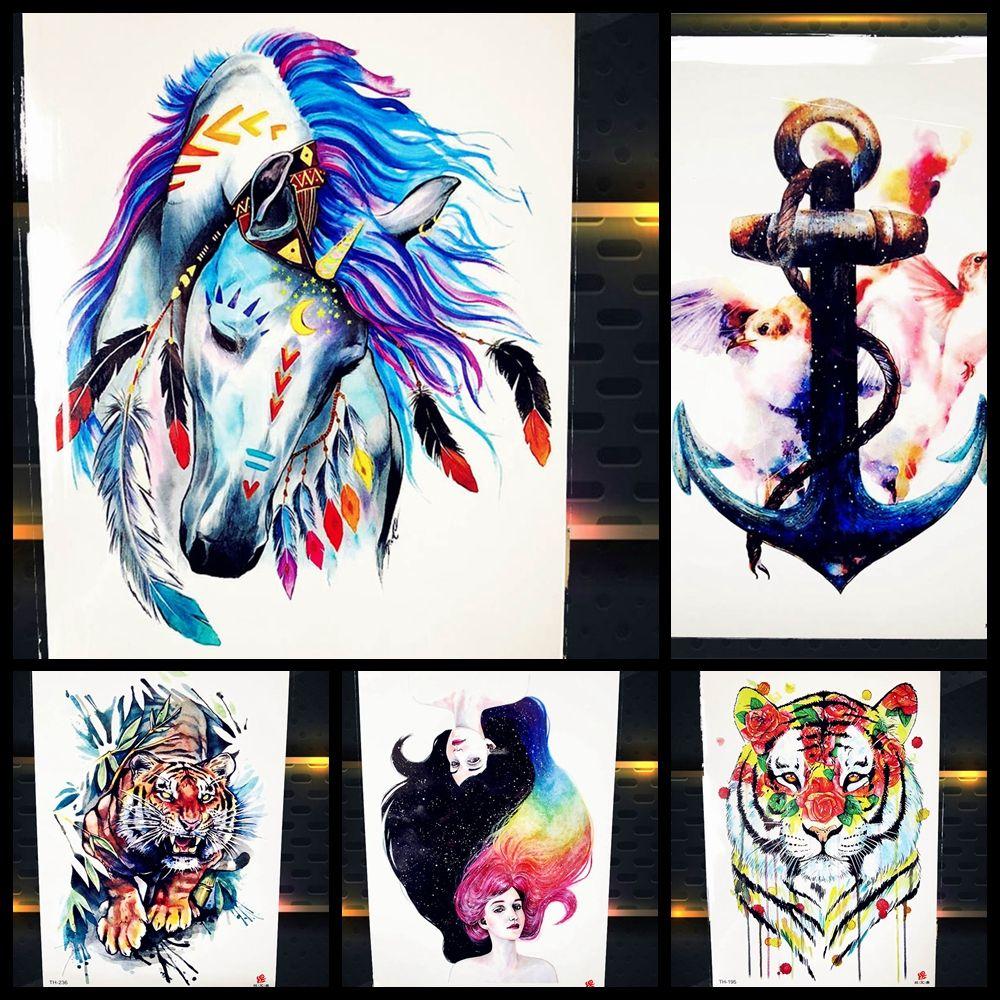 e07e7a31c661f 3D Blue Tribal Unicorn Fake Tattoo Women Stickers Men Party Body Arm Art  Anchor New Temporary Tattoo Women Xmas Gifts Cosmetic Temporary Realistic  Tattoos ...