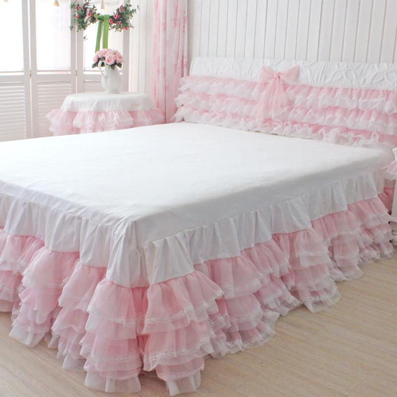 Free shipping six cake layers style white&pink lace yarn princess ruffles  bed skirt bed apron cover for wedding