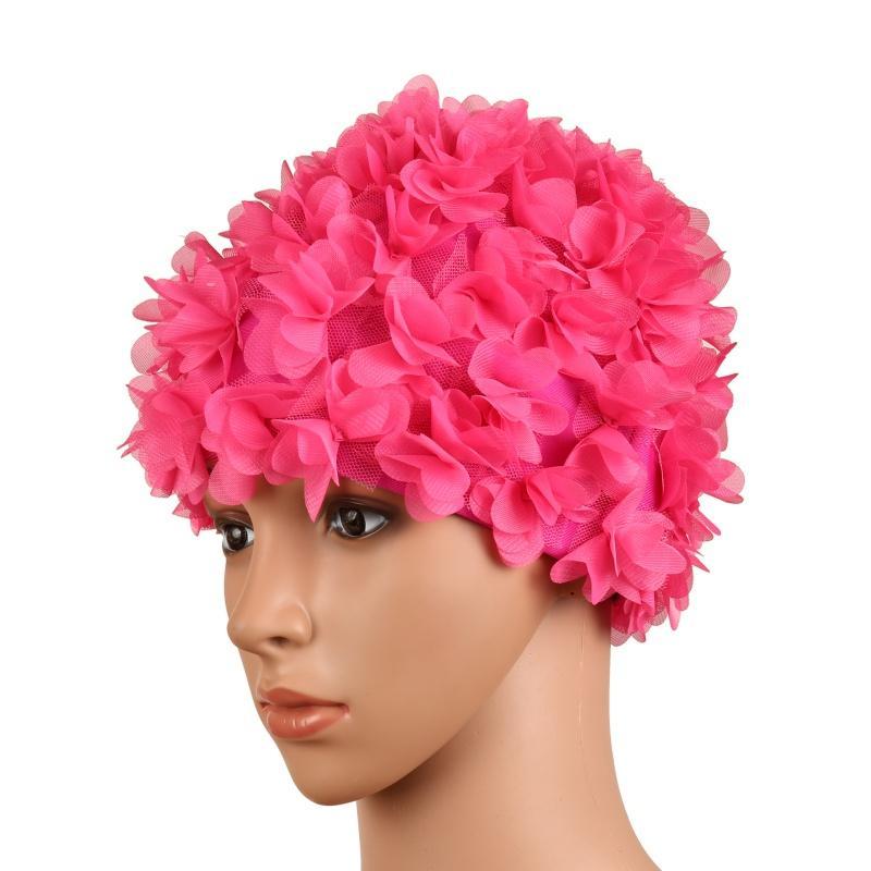 3e080139f3d3c Compre Floral Do Vintage Das Senhoras Mulher Touca De Natação Pétala Retro  Chapéu De Natação Flor Touca De Banho Chapéu Atraente Novo De Simmer
