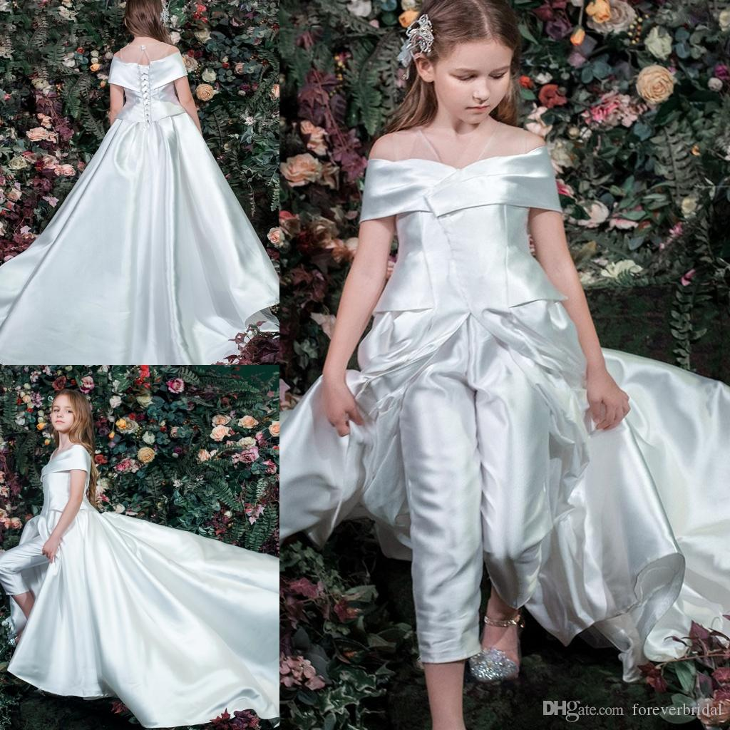 8d641360866 Plain Design Off Shoulder Girls Divided Skirt Floor Length With Long Train  Lace Up Back Wedding Flower Girl Dresses One Piece  Opp Bag Mint Green  Flower ...