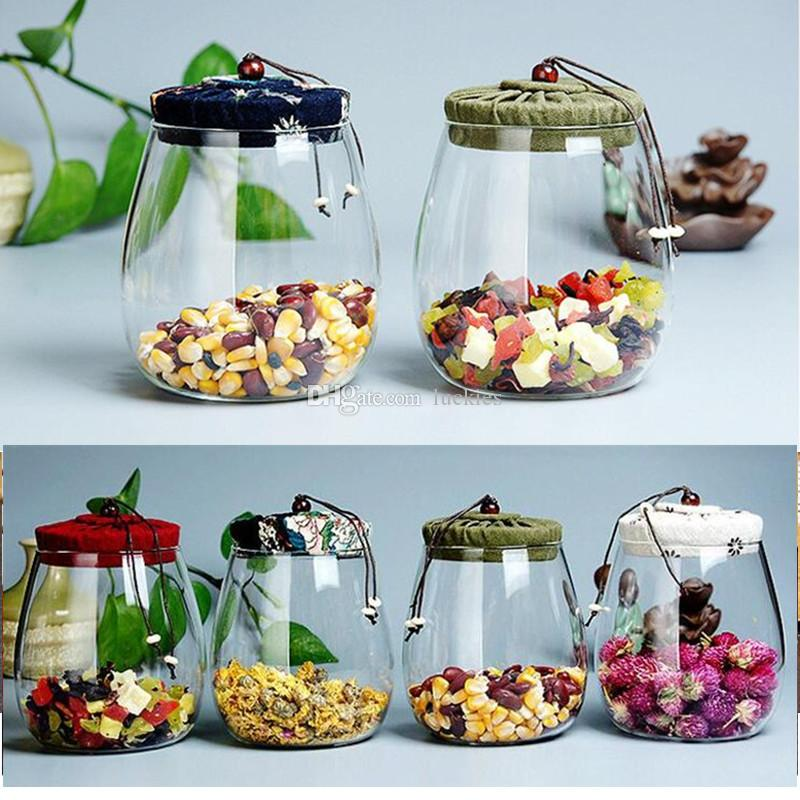 600ml Storage Jar Flower Tea Glass Jar Tea Tank Coffee Bean Kitchen Food  Container with Natural High grade wood Lid for Cookies Snacks