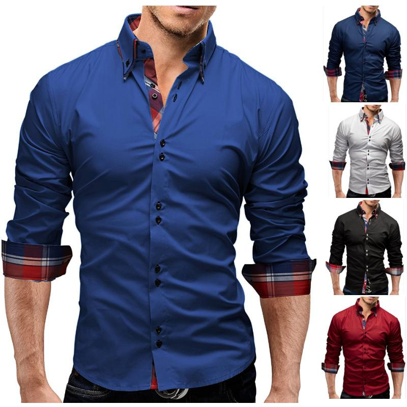 2018 Men Fashion Autumn Casual Shirts Double Collar Long Sleeves Solid Coloor Cotton Blouse Free Shipping