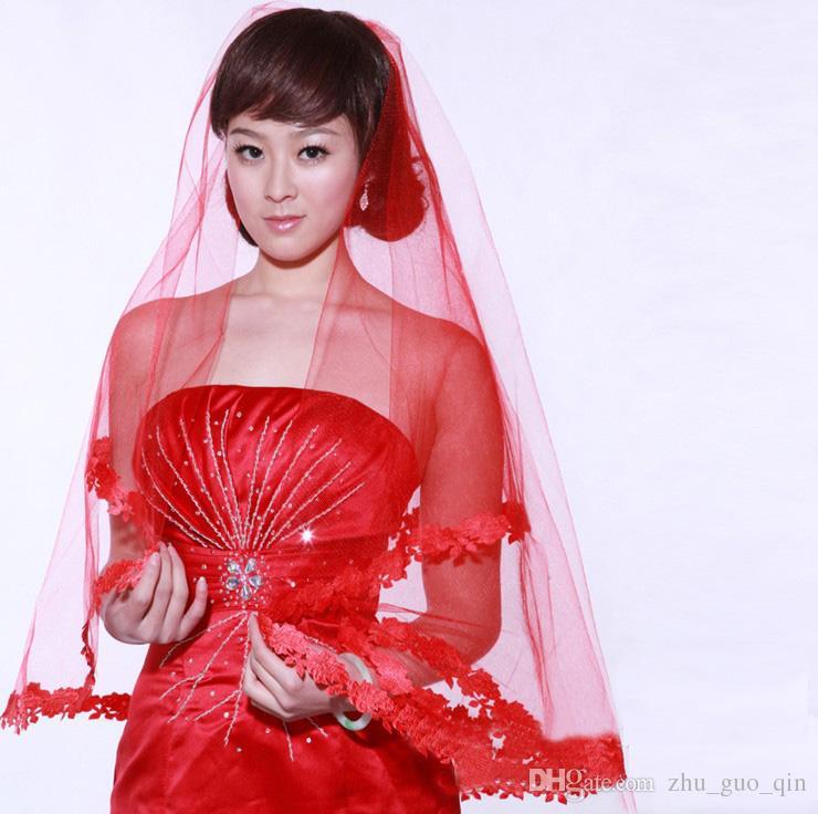 2018 Hot Sale Cheap Short Wedding Veil White Applique Elbow Length Bride Veil