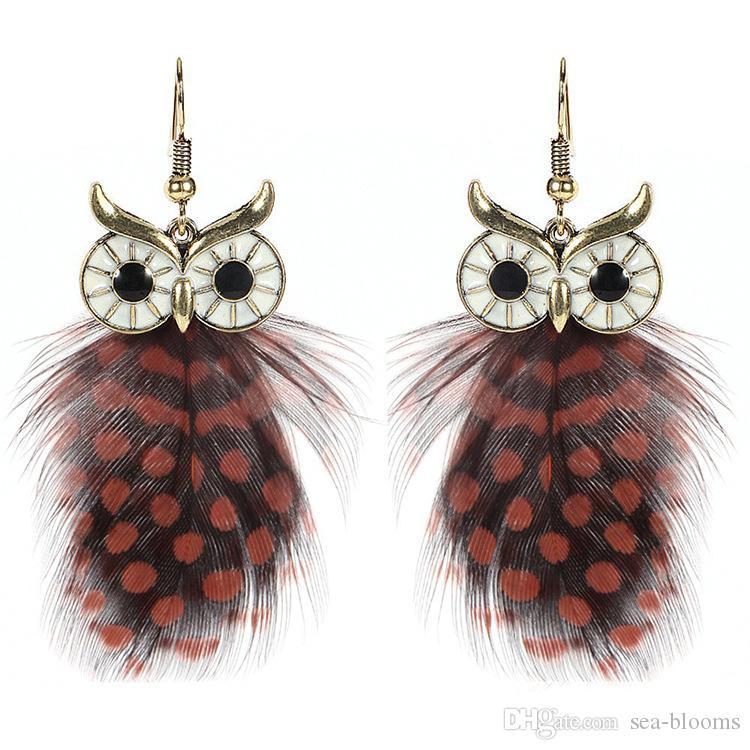 Fashion Earrings Ethnic Female Owl Feather Dangle Earrings For Women Pendant Earring Jewelry 5 Styles Hot Sale D903Q