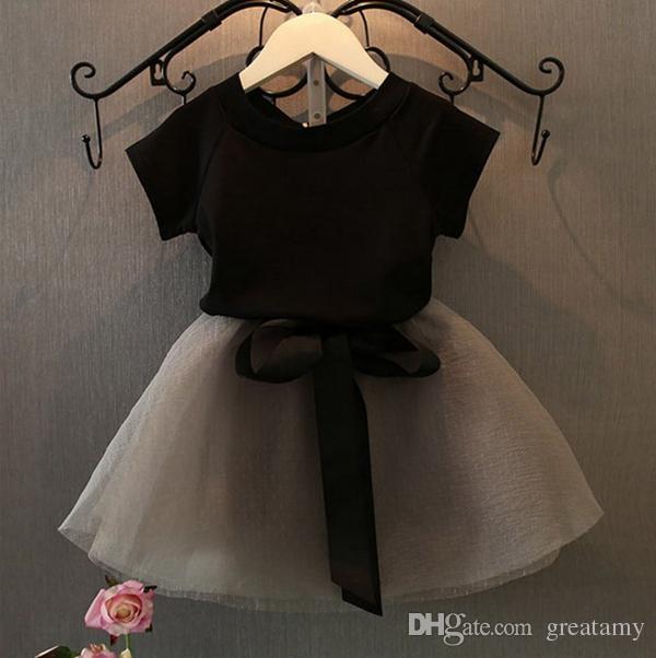 Niñas niños del bebé sistemas de la ropa falda de encaje negro encima de la camiseta + / set de verano de princesa Dress Boutique de ropa Trajes