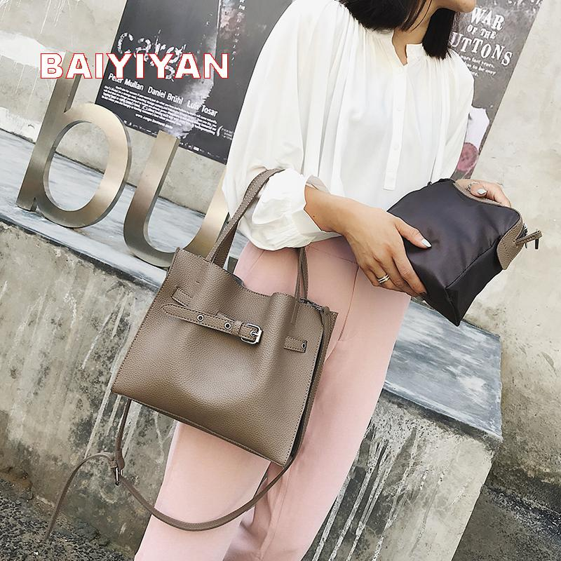 New Litchi Pattern Soft PU Leather Women Handbag Two Pieces Female Shoulder  Bag Girls Messenger Bag Casual Women Toting Leather Backpack Purse From  Annawawa ... 50943bab259b9