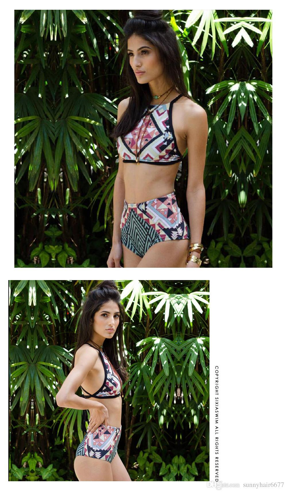 Dark Blue Print Floral Hight Waist Bikini Two Piece Striped Tankini Swimwear Women Sexy Female Swimsuit Brazilian Bikini XL 912