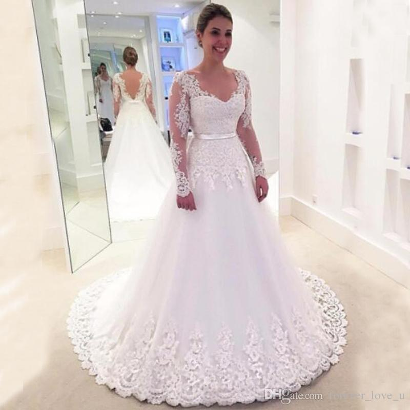 4f8f6188b1 Discount 2018 Wedding Dresses A Line V Neck Illusion Long Sleeves Lace  Appliques Tulle Bridal Gowns With Sash Sheer Back Sweep Train Wedding  Dresses With ...